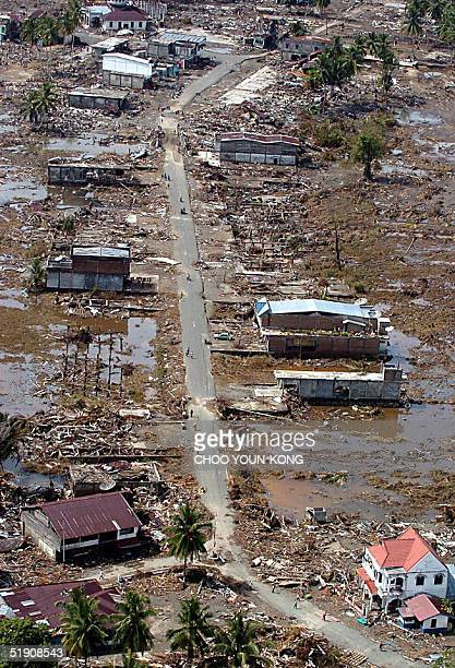 An over view shows damaged town of Teunom near Meulabo 170 km southwest from Banda Aceh in Aceh province Indonesia 02 January 2005 seven days after a...