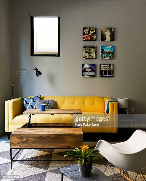 An overall image of the living area in a studio apartment Kyle Schuneman styled to demonstrate how to decorate in small spaces