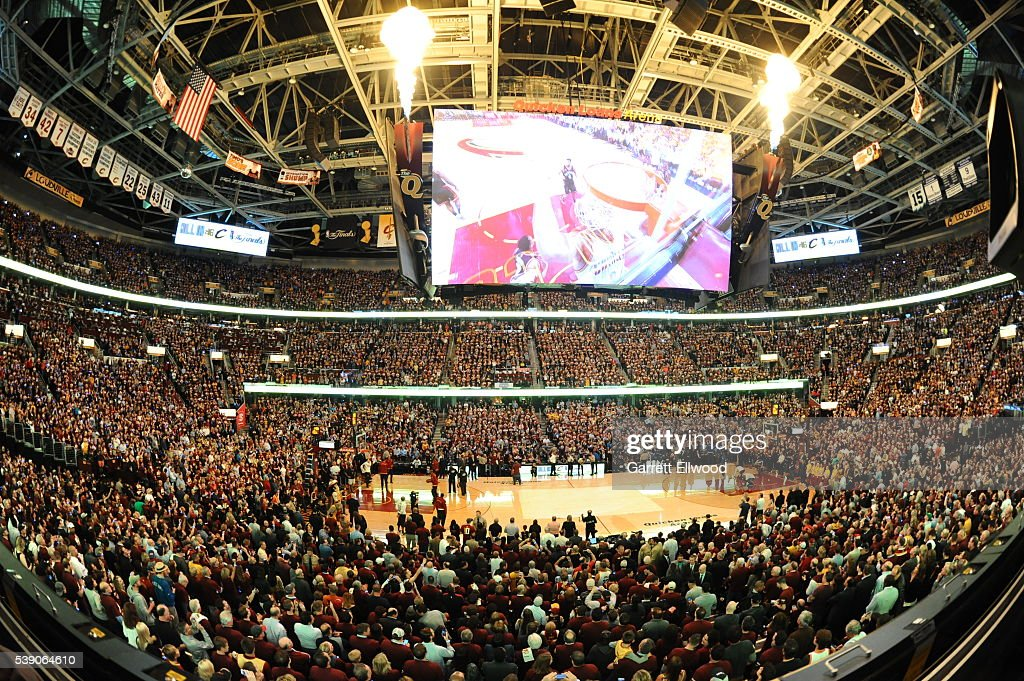 An overall of the arena during the 2016 NBA Finals Game Three on June 8, 2016 at Quicken Loans Arena in Cleveland, Ohio.
