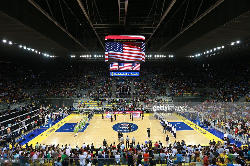An overall of the arena during the game between the USA Basketball Men's National Team against the Slovenia Basketball Men's National Team on August 26, 2014 at Gran Canaria Arena in Las Palmas, Gran Canaria, Spain.