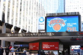 An overall shot of the exterior of Madison Square Garden during the press conference announcing Phil Jackson as the New York Knicks president at...