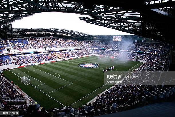An overall view during the national anthem prior to the start of the game between the New York Red Bulls and the Los Angeles Galaxy at Red Bull Arena...