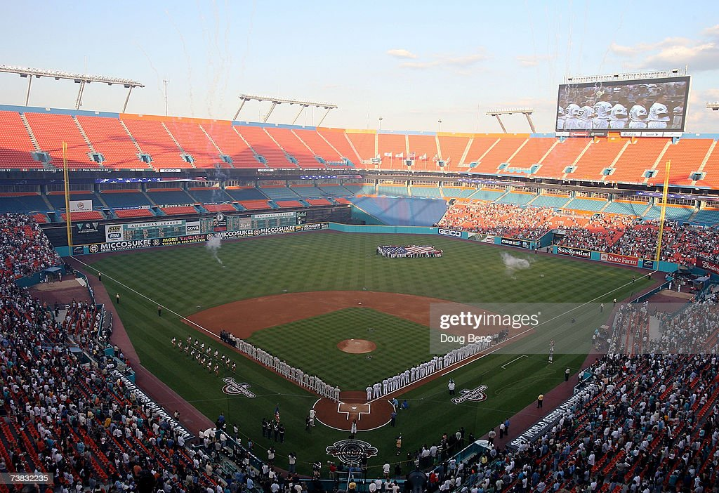 An overall view from the upperdeck during the national anthem and prior to the game between the Philadelphia Phillies and the Florida Marlins at...