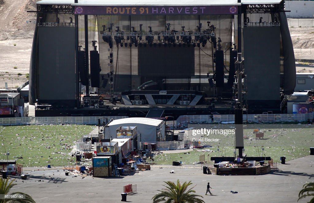 An overall view is seen of the Route 91 Harvest country music festival grounds on October 4, 2017 in Las Vegas, Nevada. The annual music festival was interrupted when a lone gunman opened fire on the crowd killing at least 59 people and injuring more than 500. The massacre is one of the deadliest mass shooting events in U.S. history.