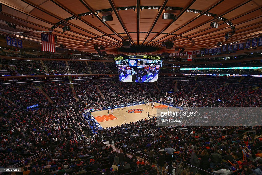 An overall view Madison Square Garden during the Boston Celtics game against the New York Knicks in New York City on January 28, 2014.