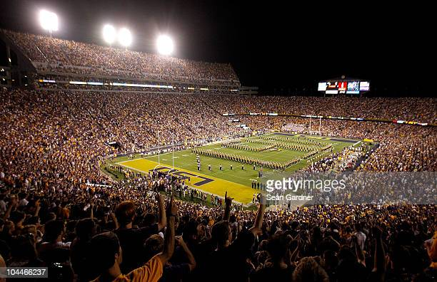 An overall view of Death Valley at Tiger Stadium before Louisiana State University played West Virginia on September 25 2010 in Baton Rouge Louisiana...