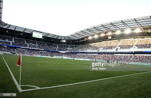 An overall view of game action between the New York Red Bulls and the Los Angeles Galaxy during their game at Red Bull Arena on August 14 2010 in...