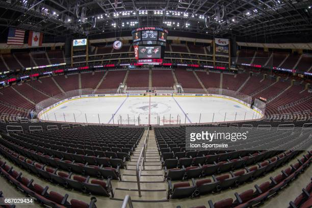 An overall view of Gila River Arena before the NHL hockey game between the Minnesota Wild and the Arizona Coyotes on April 8 2017 at Gila River Arena...