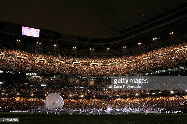 An overall view of Real Madrids stadium after the La Liga match between Real Madrid and Mallorca at the Santiago Bernabeu stadium on June 17 2007 in...