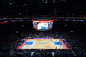 An overall view of Staples Center during the Los Angeles Lakers game against the Los Angeles Clippers on April 07 2015 in Los Angeles California NOTE...
