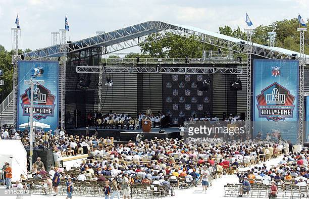 An overall view of the 2004 NFL Hall of Fame enshrinement ceremony on August 8 2004 at Fawcett Stadium in Canton Ohio