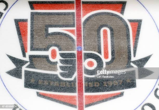 An overall view of the 50th anniversary logo of the of the Philadelphia Flyers during their game against the Buffalo Sabres on October 25 2016 at the...