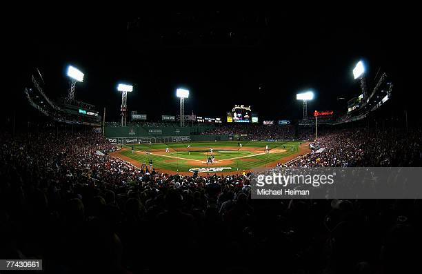 An overall view of the action during Game Six of the American League Championship Series between the Cleveland Indians and the Boston Red Sox during...