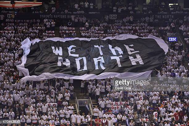 An overall view of the Air Canada Centre while the fans pass around the 'WE ARE THE NORTH' flag during Game One of the Eastern Conference Playoffs...