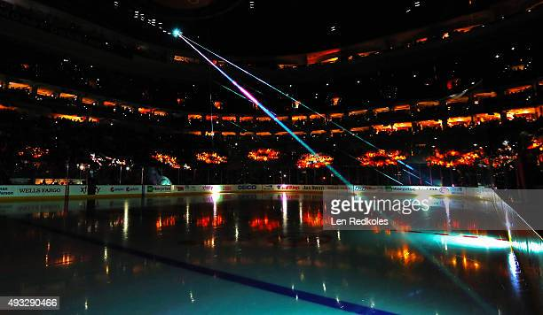 An overall view of the arena during pregame laser light show prior to opening night introductions of the Philadelphia Flyers homeopener against the...