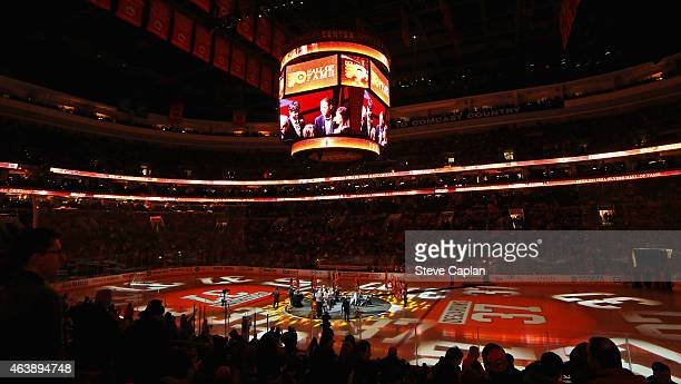 An overall view of the arena during the Philadelphia Flyers Hall Of Fame induction ceremony of Eric Desjardins on February 19 2015 at the Wells Fargo...
