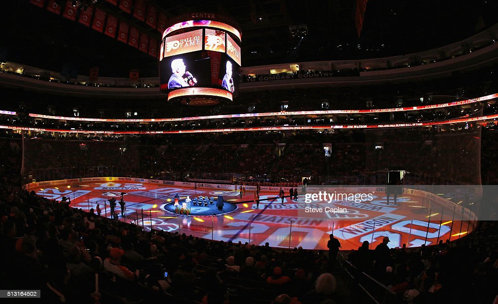 An overall view of the arena during the pregame ceremony celebrating former Philadelphia Flyer Jim Watson's induction into the Philadelphia Flyers Hall of Fame on February 29, 2016 at the Wells Fargo Center in Philadelphia, Pennsylvania.