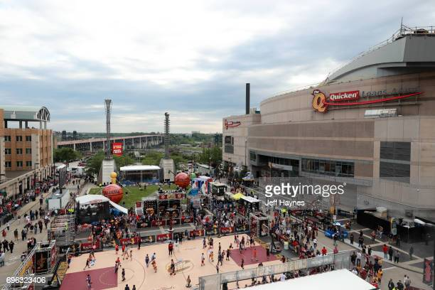 An overall view of the exterior of Quicken Loans Arena and fan activities before the game between the Golden State Warriors and the Cleveland...