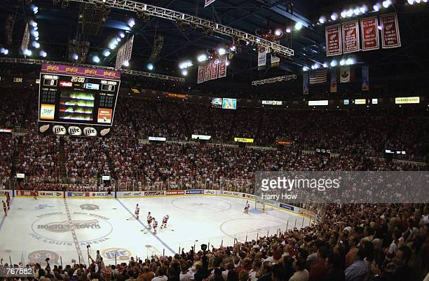 An overall view of the ice during the National Anthem before game five of the NHL Stanley Cup Finals between the Carolina Hurricanes and the Detroit...