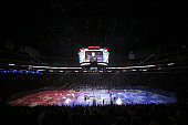 An overall view of the interior of the arena during the singing of the national anthem before the San Jose Sharks play the Los Angeles Kings in their...
