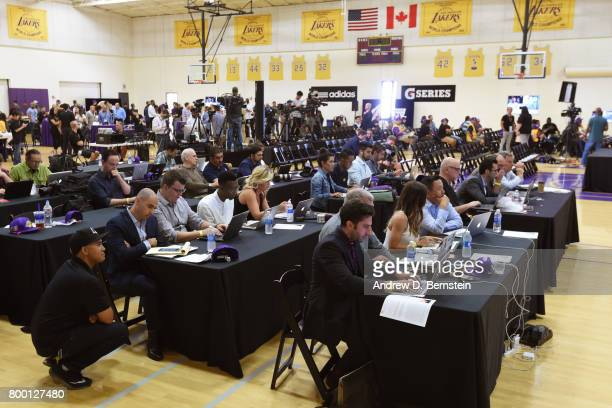 An overall view of the Los Angeles Lakers draft room during the 2017 NBA Draft in El Segundo California NOTE TO USER User expressly acknowledges and...