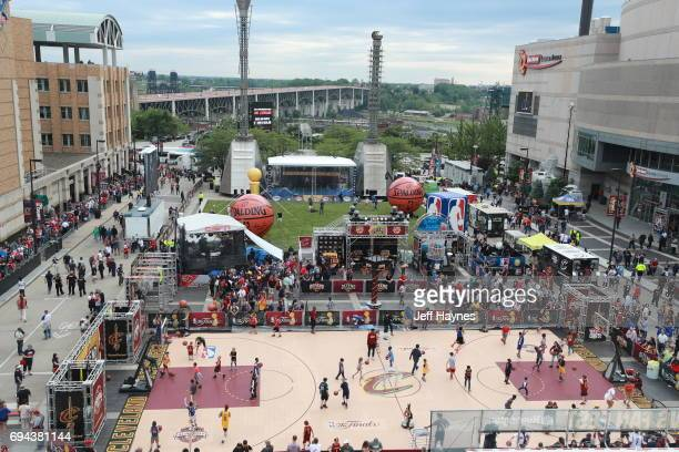 An overall view of the outside of Quicken Loans Arena before the game between the Golden State Warriors and Cleveland Cavaliers in Game Four of the...