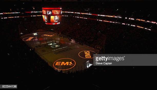 An overall view of the Wells Fargo Center during a moment of silence for late Philadelphia Flyers owner Ed Snider prior to the start of Game Three of...