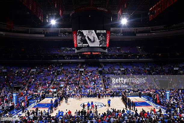 An overall view of the Wells Fargo Center during the Utah Jazz game against the Philadelphia 76ers on October 30 2015 in Philadelphia Pennsylvania...