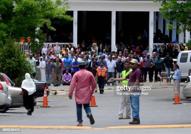 An overflow crowd heads to the funeral prayer service or Janazah for Nabra Hassanen at ADAMS Sterling June 21 2017 near Sterling VA She was killed by...