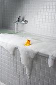 An overflowing bubble bath