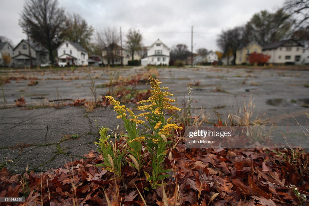 An overgrown parking lot lies in front of a residential neighborhood at the long-closed Packard Electric complex on October 29, 2012 in Warren, Ohio. Warren, like much of rust belt Ohio, had suffered through long-term economic decline, even before the recent recession. Political analysts have predicted Ohio voters could potentially provide the winning votes in the Electoral College in the upcoming Presidential election.