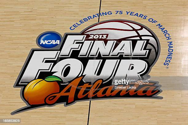 An overhead detail of the center court NCAA Final Four logo is seen during the 2013 NCAA Men's Final Four Semifinal at the Georgia Dome on April 6...