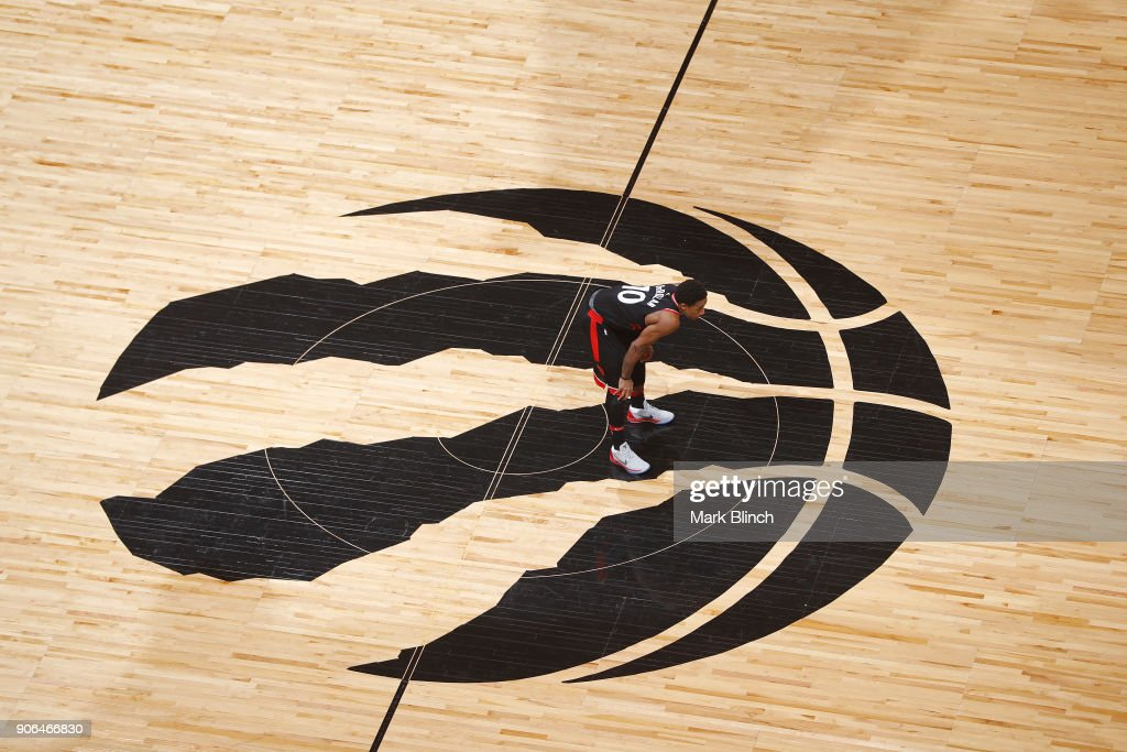 An overhead shot of DeMar DeRozan #10 of the Toronto Raptors standing at center court during the game against the Golden State Warriors on January 13, 2018 at the Air Canada Centre in Toronto, Ontario, Canada.