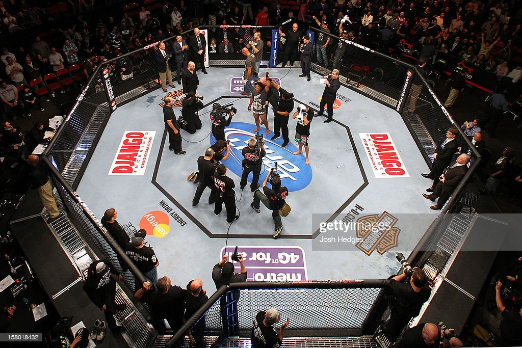 An overhead view as Benson Henderson (white shorts) is declared the winner after his bout against Nate Diaz during the UFC on FOX event on December 8, 2012 at Key Arena in Seattle, Washington.