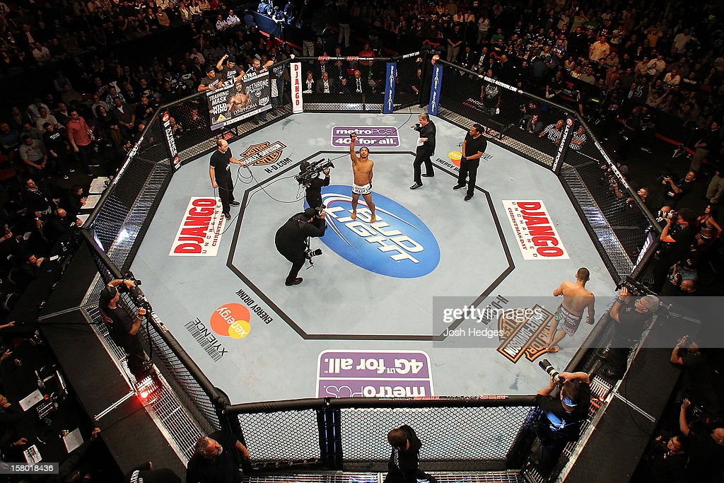 An overhead view as Benson Henderson (white shorts) is introduced before facing Nate Diaz during the UFC on FOX event on December 8, 2012 at Key Arena in Seattle, Washington.