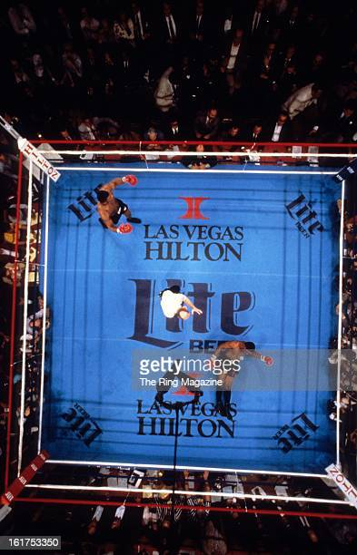 An overhead view as Mike Tyson knocks down Trevor Berbick during the fight at Hilton Hotel in Las Vegas Nevada Mike Tyson won the WBC heavyweight...