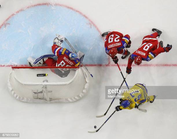 An overhead view of action during the 2017 IIHF Ice Hockey World Championship game between Sweden and Russia at Lanxess Arena on May 5 2017 in...