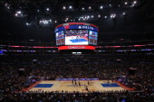 An overhead view of the court during the game between the Brooklyn Nets and the Los Angeles Clippers at Staples Center on November 16 2013 in Los...