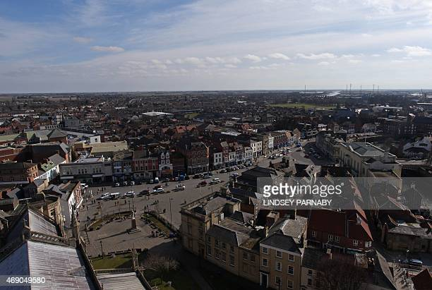 An overhead view of the market town of Boston in Lincolnshire on March 5 2015 For centuries the town of Boston in eastern England saw its inhabitants...