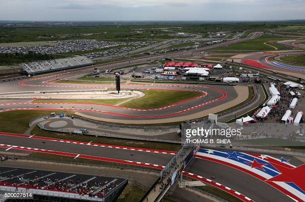 TOPSHOT An overhead view of the Moto3 qualifying 1 is seen during the 2016 Grand Prix of the Americas MotoGP race at circuit of the Americas in...