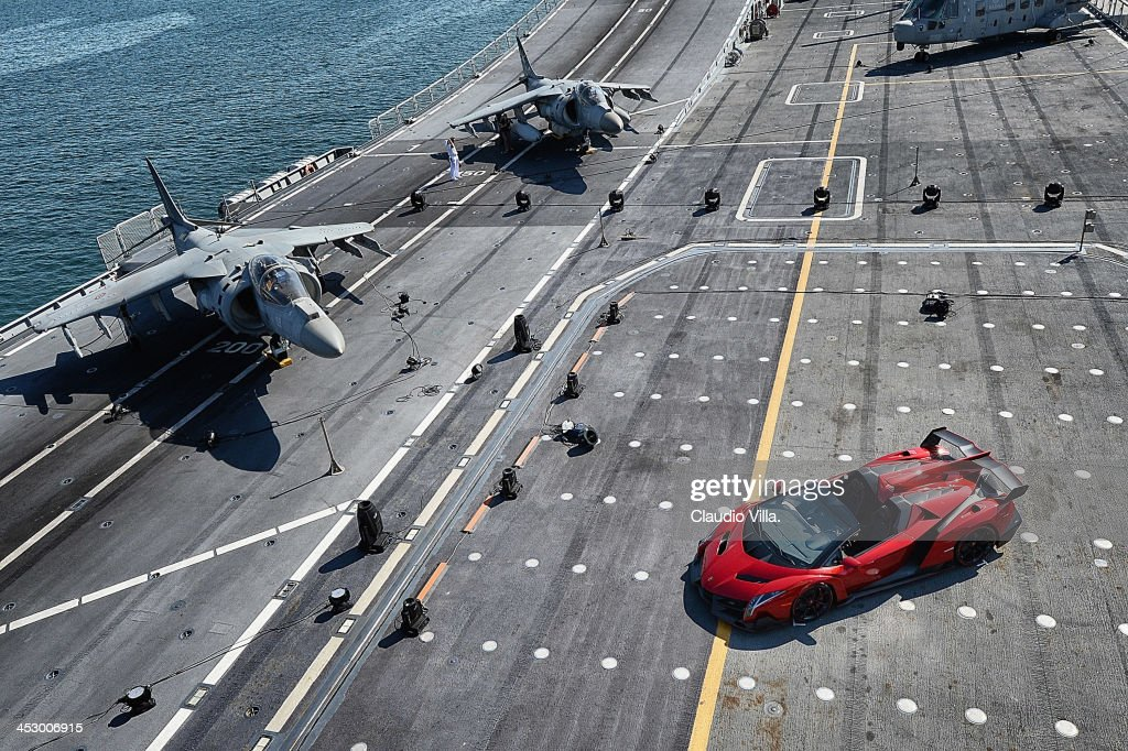 An overhead view of the new Lamborghini Veneno Roadster on board the Italian aircraft carrier Cavour on December 1, 2013 in Abu Dhabi, United Arab Emirates.