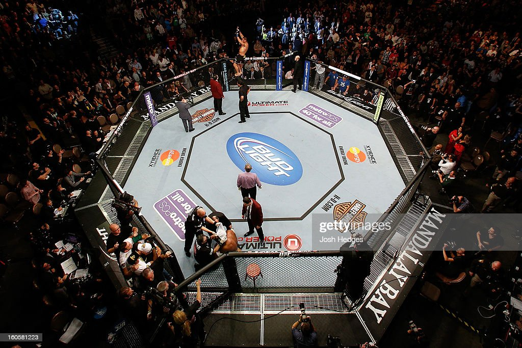 An overhead view of the Octagon as Antonio 'Bigfoot' Silva reacts after knocking out Alistair Overeem during their heavyweight fight at UFC 156 on February 2, 2013 at the Mandalay Bay Events Center in Las Vegas, Nevada.