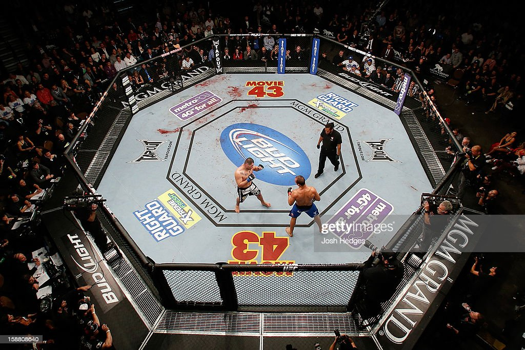 An overhead view of the Octagon as <a gi-track='captionPersonalityLinkClicked' href=/galleries/search?phrase=Cain+Velasquez&family=editorial&specificpeople=5445619 ng-click='$event.stopPropagation()'>Cain Velasquez</a> (black shorts) and Junior dos Santos square off during their heavyweight championship fight at UFC 155 on December 29, 2012 at MGM Grand Garden Arena in Las Vegas, Nevada.