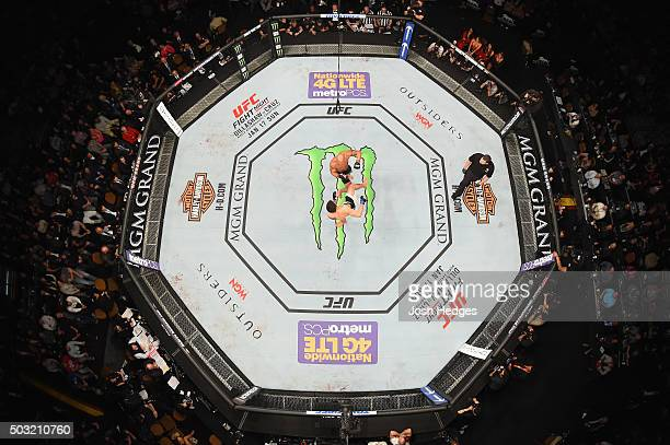 An overhead view of the Octagon as Carlos Condit kicks Robbie Lawler during the UFC 195 event inside MGM Grand Garden Arena on January 2 2016 in Las...
