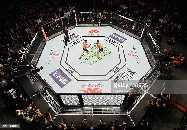 An overhead view of the Octagon as Dominick Cruz and Cody Garbrandt face off during the UFC 207 event at TMobile Arena on December 30 2016 in Las...