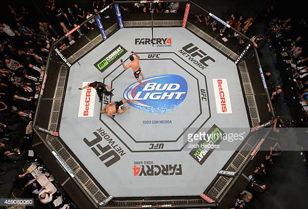 An overhead view of the Octagon as Fabricio Werdum celebrates after knocking out Mark Hunt in their interim UFC heavyweight championship bout during...