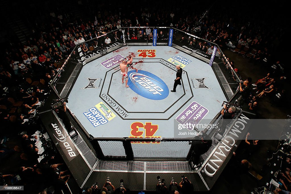 An overhead view of the Octagon as Jim Miller (black shorts) punches Joe Lauzon (white shorts) during their lightweight fight at UFC 155 on December 29, 2012 at MGM Grand Garden Arena in Las Vegas, Nevada.