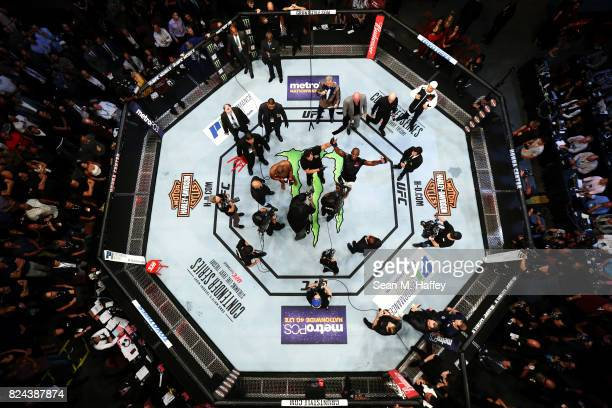 An overhead view of the Octagon as Jon Jones celebrates after knocking out Daniel Cormier during the UFC 214 event at Honda Center on July 29 2017 in...