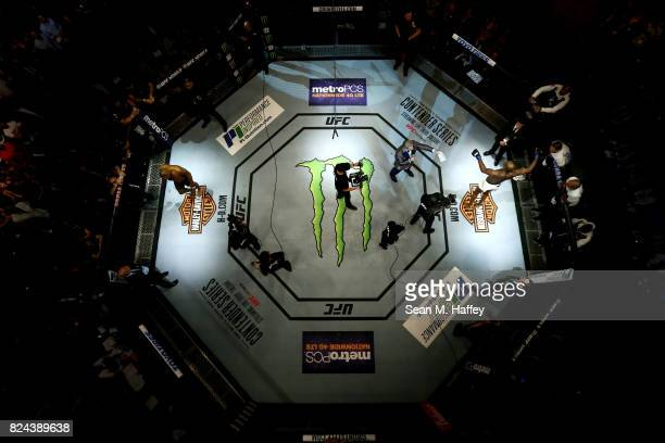An overhead view of the Octagon as Jon Jones is introduced prior to his light heavyweight championship bout against Daniel Cormier during the UFC 214...