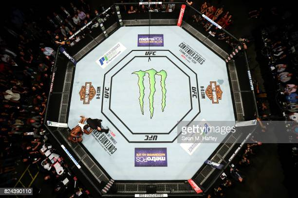 An overhead view of the Octagon as Jon Jones knocks out Daniel Cormier during the UFC 214 event at Honda Center on July 29 2017 in Anaheim California